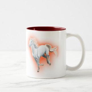 White Horse Running Two-Tone Coffee Mug