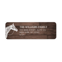 White Horse Rustic Brown Wood Return Address Label