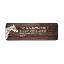 White Horse Rustic Brown Wood Return Address Label
