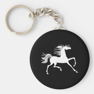 White Horse Silhouette Keychain