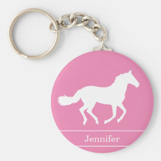 White Horse Silhouette Pink Background with Name Keychain