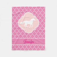 White Horse Silhouette Pink Quatrefoil with Name Fleece Blanket