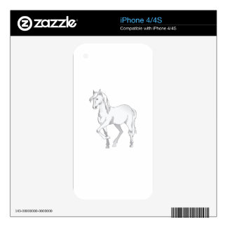 WHITE HORSE DECAL FOR iPhone 4