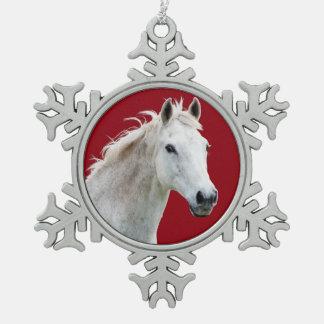 White Horse Snowflake Ornament