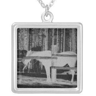 White Horse Square Pendant Necklace