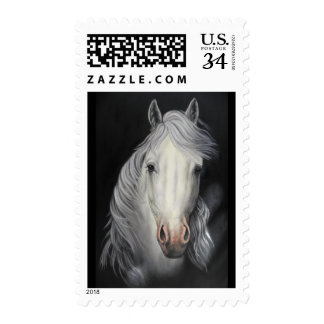 white horse stallion postage stamp