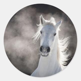 White horse round sticker