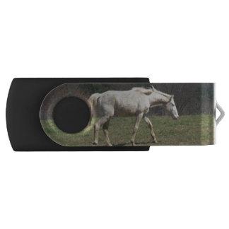White Horse Walking USB swivel flash drive