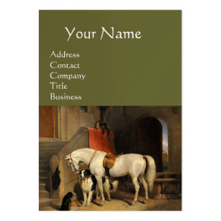 White Horse With Dogs, Green Large Business Card