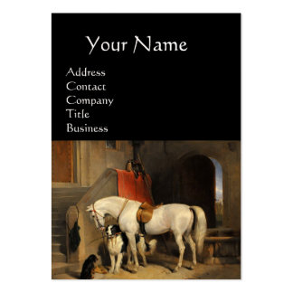 White Horse With Dogs, Green Large Business Cards (Pack Of 100)