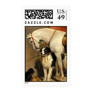 White Horse With Dogs Postage