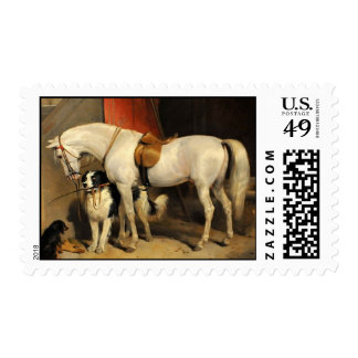 White Horse With Dogs Stamp