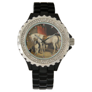 White Horse With Dogs Wrist Watch