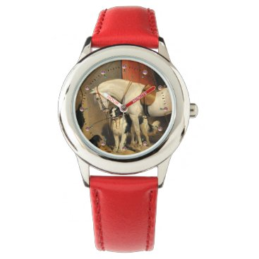 Professional Business White Horse With Dogs Wrist Watch