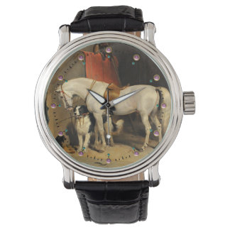 White Horse With Dogs Wristwatches