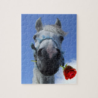 White horse with red rose between lips humerous Pu Puzzle