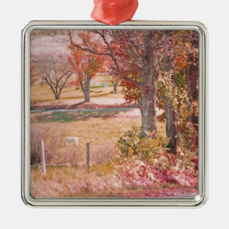 White Horse with Rust and Green Autumn Colors Metal Ornament