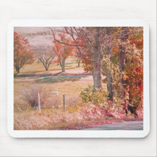 White Horse with Rust and Green Autumn Colors Mouse Pad