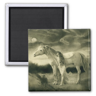 white horse woman 2 inch square magnet