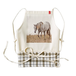 white horse zazzle HEART apron