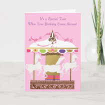 White Horses Merry Go Round Birthday Card