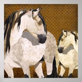 White Horses Retro Poster