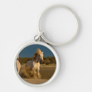 White Horses Running On Beach | Camargue, France Keychain