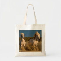White Horses Running On Beach | Camargue, France Tote Bag