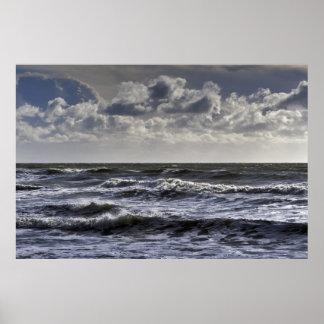 White horses: seascape poster