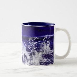 White Horses Two-Tone Coffee Mug