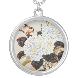 white Hortensia, unknown artist flowers Pendant