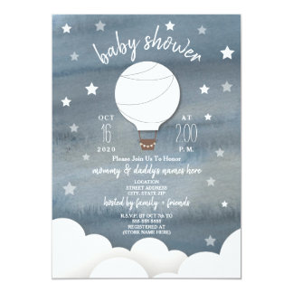 White Hot Air Balloon + Stars Neutral Baby Shower Card