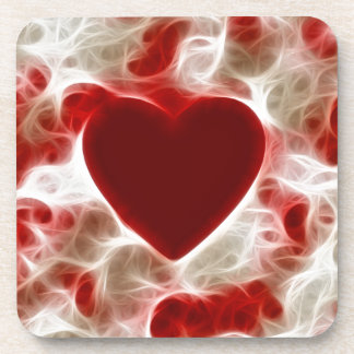 White Hot Red Heart Coaster