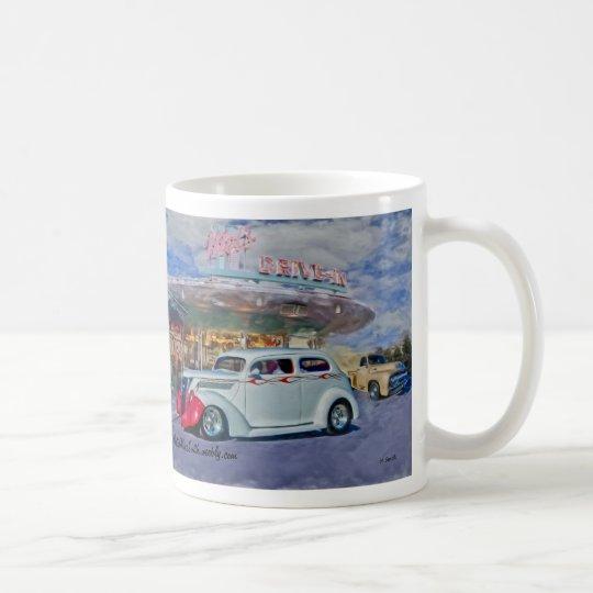 white hotrod at drive-in coffee mug