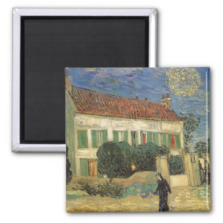 White House at Night by Vincent van Gogh 2 Inch Square Magnet
