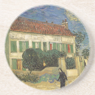 White House at Night by Vincent van Gogh Sandstone Coaster