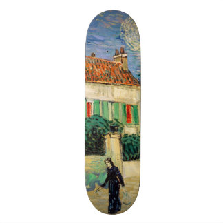 White House at Night by Vincent Van Gogh Skateboard