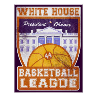 White House Basketball League Vintage Poster