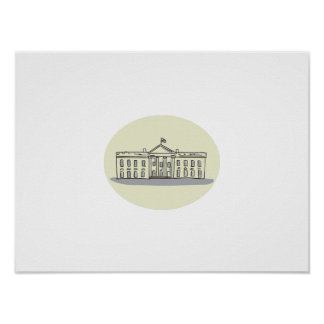 White House Building Oval Drawing Poster