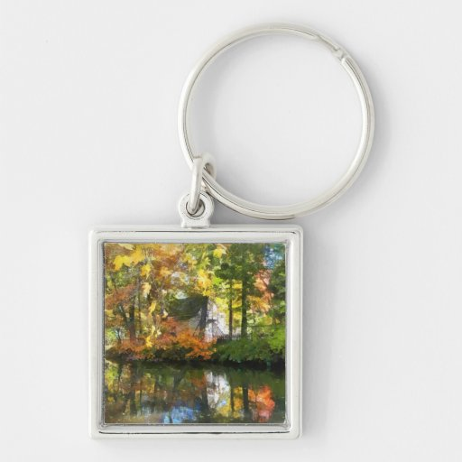 White House by Lake in Autumn Keychain