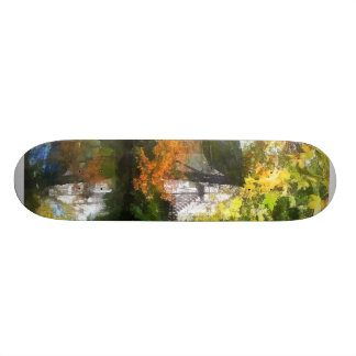 White House by Lake in Autumn Skate Boards