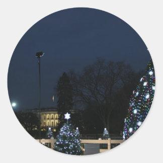 White House celebrates Christmas Classic Round Sticker