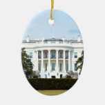 White House From The Lawn Double-Sided Oval Ceramic Christmas Ornament