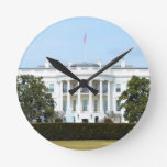 White House From The Lawn Round Wall Clocks