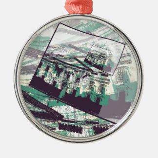 White House Graphic Metal Ornament