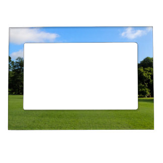 White House Lawn Green Grass and Blue Sky Magnetic Photo Frame