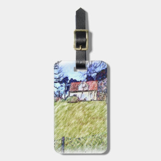 white house on the hill luggage tag