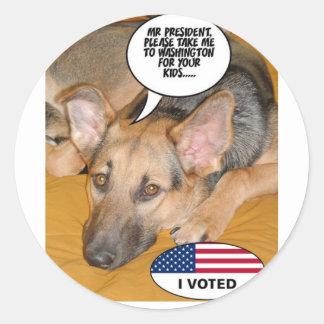 White-House Pet/German Shepherd Classic Round Sticker