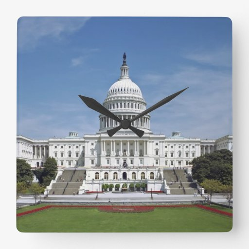 White house us capitol building washington dc wall clock for Building a house in washington state