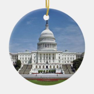 White House US Capitol Building Washington DC Double-Sided Ceramic Round Christmas Ornament